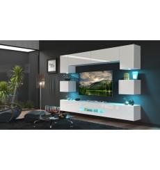 Ensemble meuble TV NEXT 1 BESTA DAN1-17W-HG21-1B blanc brillant 257 cm