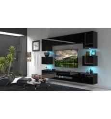 Ensemble meuble TV NEXT 1 BESTA DAN1-17B-HG20-1B noir brillant 257 cm