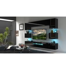 Ensemble meuble TV NEXT 1 BESTA N1-GAN1-17B-HG20-1B noir brillant 257 cm