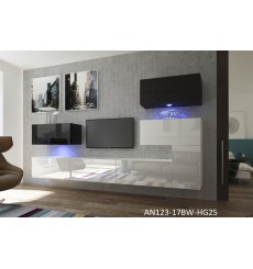 Ensemble meuble TV NEXT 123 AN123-17BW-HG25-1A blanc/noir brillant 286 cm