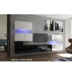 Ensemble meuble TV NEXT 123 AN123-17BW-HG24-1A blanc/noir brillant 286 cm