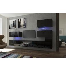 Ensemble meuble TV NEXT 123 AN123-17B-HG20-1A noir brillant 286 cm