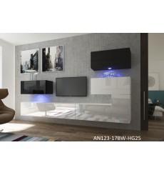 Ensemble meuble TV NEXT 123 AN123-17BW-HG25-1B blanc/noir brillant 302 cm