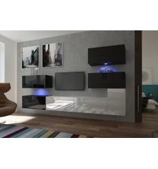 Ensemble meuble TV NEXT 123 AN123-17BW-HG22-1B noir/blanc brillant 302 cm