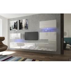 Ensemble meuble TV NEXT 123 AN123-17W-HG21-1B blanc brillant 302 cm