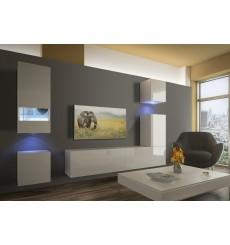 Ensemble meuble TV NEXT 19 AN19-18W-HG2-1B blanc brillant 256 cm