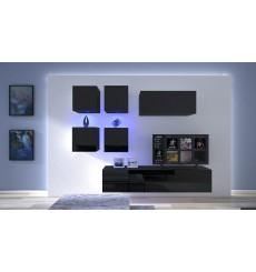Ensemble meuble TV NEXT 200 AN200-17B-HG20-1A noir brillant 200 cm