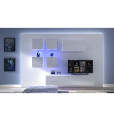 Ensemble meuble TV NEXT 200 AN200-17W-HG29-1A blanc brillant 200 cm