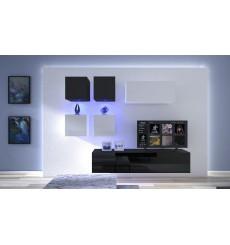Ensemble meuble TV NEXT 200 AN200-17BW-HG21-1A noir/blanc brillant 200 cm