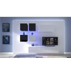 Ensemble meuble TV NEXT 200 AN200-17BW-HG30-1A blanc/noir brillant 200 cm