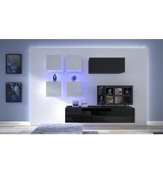 Ensemble meuble TV NEXT 200 AN200-17BW-HG22-1A noir/blanc brillant 200 cm