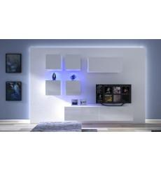 Ensemble meuble TV NEXT 200 AN200-17W-HG29-1B blanc brillant 236 cm