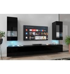 Ensemble meuble TV NEXT 21 AN21-18B-HG1-1A noir brillant 226 cm
