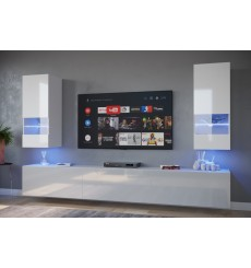 Ensemble meuble TV NEXT 21 AN21-18W-HG2-1A blanc brillant 226 cm