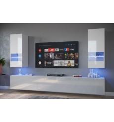 Ensemble meuble TV NEXT 21 AN21-18W-HG2-1B blanc brillant 249 cm