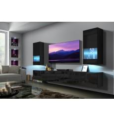 Ensemble meuble TV NEXT 21 AN21-18B-HG1-1C noir brillant 273 cm