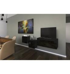 Ensemble meuble TV NEXT 263 AN263-17B-HG20-1A noir brillant 191 cm