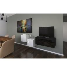 Ensemble meuble TV NEXT 263 AN263-17BW-HG23-1A noir/blanc brillant 191 cm