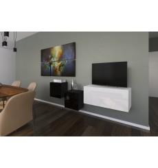Ensemble meuble TV NEXT 263 AN263-17BW-HG24-1A blanc/noir brillant 191 cm