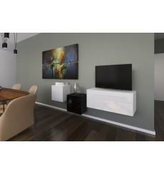 Ensemble meuble TV NEXT 263 AN263-17BW-HG25-1A blanc/noir brillant 191 cm