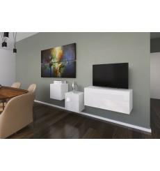 Ensemble meuble TV NEXT 263 AN263-17W-HG21-1A blanc brillant 191 cm