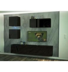 Ensemble meuble TV NEXT 269 AN269-17B-HG20-1A noir brillant 200 cm