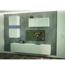 Ensemble meuble TV NEXT 269 AN269-17W-HG24-1B blanc brillant 207 cm