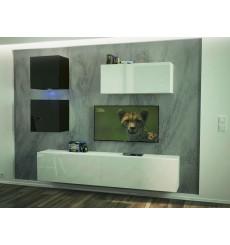 Ensemble meuble TV NEXT 269 AN269-17WB-HG25-1B blanc/noir brillant 207 cm