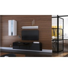 Ensemble meuble TV NEXT 271 AN271-17BW-HG22-1A noir/blanc brillant 193 cm