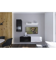 Ensemble meuble TV NEXT 272 AN272-17BW-HG22-1A noir/blanc brillant 193 cm