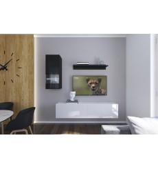 Ensemble meuble TV NEXT 272 AN272-17BW-HG25-1A noir/blanc brillant 193 cm