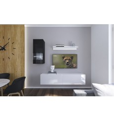 Ensemble meuble TV NEXT 272 AN272-17BW-HG27-1A blanc/noir brillant 193 cm