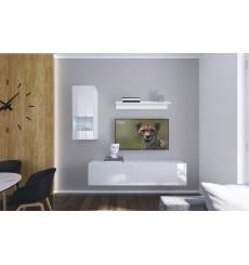 Ensemble meuble TV NEXT 272 AN272-17W-HG21-1A blanc brillant 193 cm