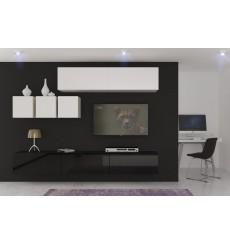 Ensemble meuble TV NEXT 273 AN273-17BW-HG23-1A blanc/noir brillant 249 cm
