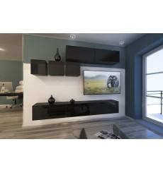 Ensemble meuble TV NEXT 273 AN273-17B-HG20-1A noir brillant 249 cm