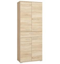 Armoire portes battante et tiroir 204x79 cm chêne