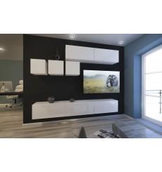 Ensemble meuble TV NEXT 273 AN273-17W-HG21-1A blanc brillant 249 cm