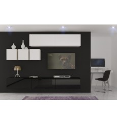 Ensemble meuble TV NEXT 273 AN273-17BW-HG23-1B blanc/noir brillant 249 cm