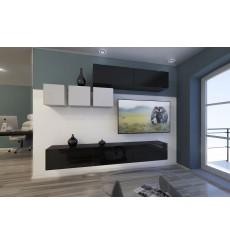Ensemble meuble TV NEXT 273 AN273-17BW-HG22-1B noir/blanc brillant 249 cm