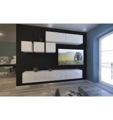 Ensemble meuble TV NEXT 273 AN273-17W-HG21-1B blanc brillant 249 cm
