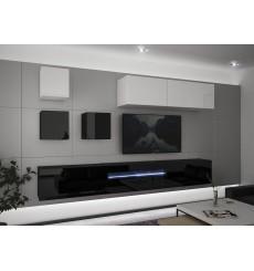 Ensemble meuble TV NEXT 277 AN277-17BW-HG23-1A noir/blanc brillant 257 cm