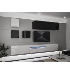 Ensemble meuble TV NEXT 277 AN277-17BW-HG26-1A blanc/noir brillant 257 cm