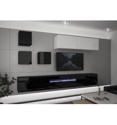 Ensemble meuble TV NEXT 277 AN277-17BW-HG22-1A noir/blanc brillant 257 cm
