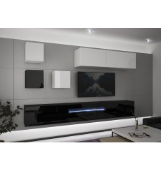 Ensemble meuble TV NEXT 277 AN277-17BW-HG25-1A noir/blanc brillant 257 cm