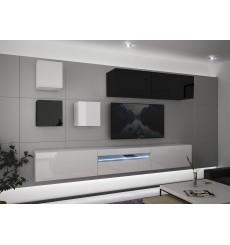 Ensemble meuble TV NEXT 277 AN277-17BW-HG29-1A blanc/noir brillant 257 cm