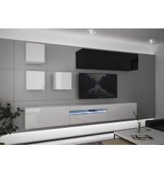Ensemble meuble TV NEXT 277 AN277-17BW-HG30-1A blanc/noir brillant 257 cm