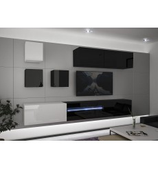 Ensemble meuble TV NEXT 277 AN277-17BW-HG24-1A noir/blanc brillant 257 cm