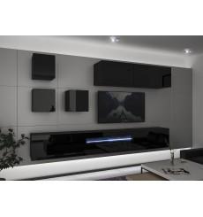 Ensemble meuble TV NEXT 277 AN277-17B-HG20-1A noir brillant 257 cm