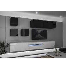 Ensemble meuble TV NEXT 277 AN277-17BW-HG27-1A blanc/noir brillant  257 cm