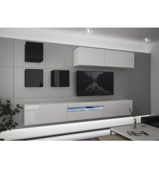 Ensemble meuble TV NEXT 277 AN277-17BW-HG28-1A blanc/noir brillant 257 cm